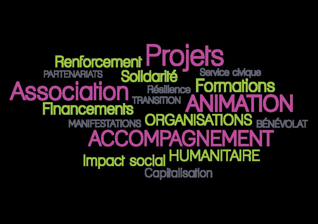 Nuage mots clés fadevva accompagnement association solidarité renforcement partenariat resilience transistion service civique impact social humanitaire bénévolat organisation accompagnement